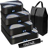 Juego de 4cubos de embalaje, equipaje de viaje embalaje organizadores con bolsa de lavandería - negro -